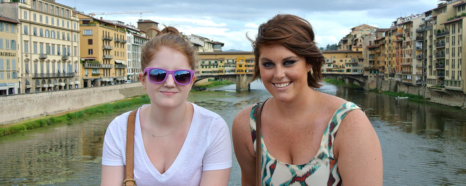 Kent State students Margaret Suren (left) and Kristen Durkin (right) pose for a picture on the Ponte Santa Trinita looking upon Ponte Vecchio in Florence, Italy. Durkin said her study abroad experience gave her the chance to grow as an individual.
