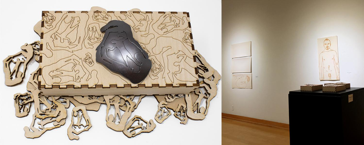 Artwork by Andrew Kuebeck, Silhouette BROoch #9, 2021, Copper, Basswood, and a gallery installation image