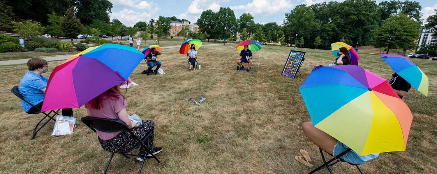 Kent State University's Lesbian, Gay, Bisexual, Transgender and Queer Plus (LGBTQ+) Center holds a safe, physically distant small group kickoff event at the start of the 2020 Fall Semester.