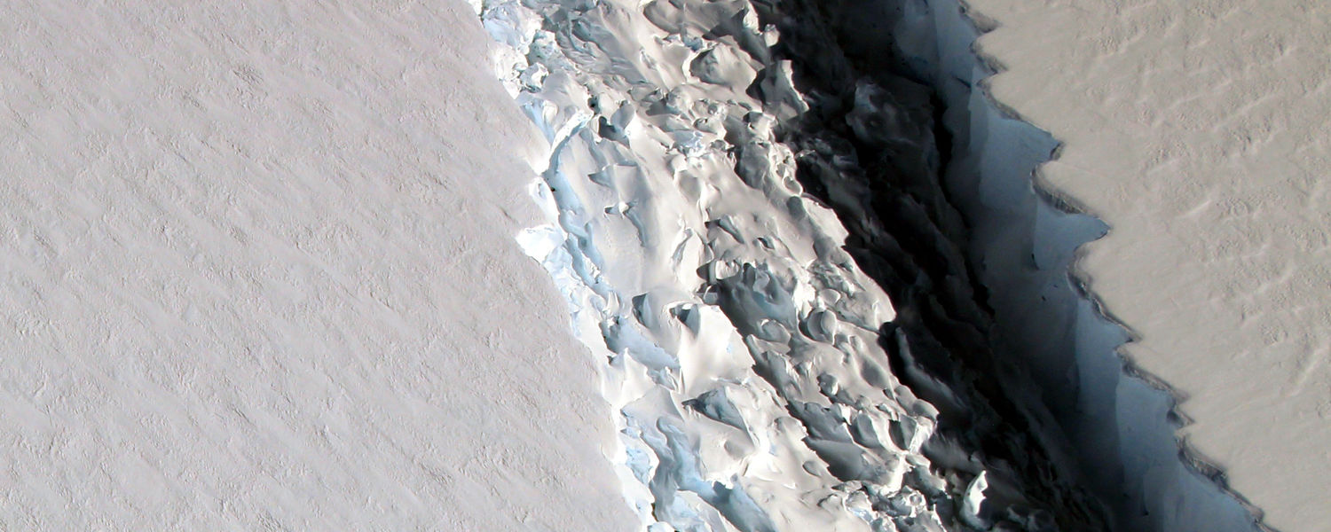 This photograph shows the detail view of the rift in Larsen C from the vantage point of NASA's DC-8 research aircraft. NASA scientist John Sonntag photo taken November 10, 2016