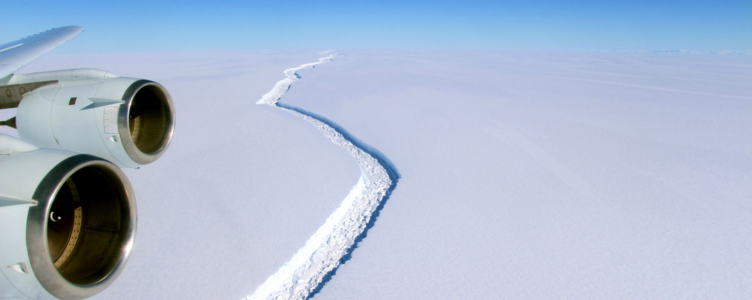 A rift along the Larsen C ice shelf from the vantage point of NASA's DC-8 research aircraft. Image acquired by NASA on November 10, 2016. Photo credit: John Sonntag / NASA