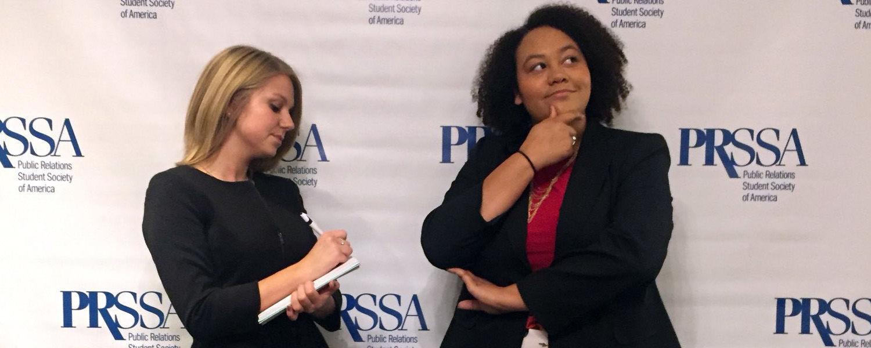 Latisha Ellison, '18, and Charleah Trombitis, '18, at PRSSA National Conference.