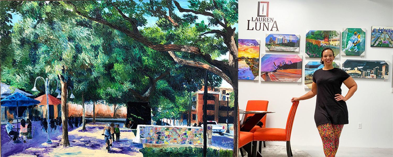 Lauren Luna in her studio and her painting