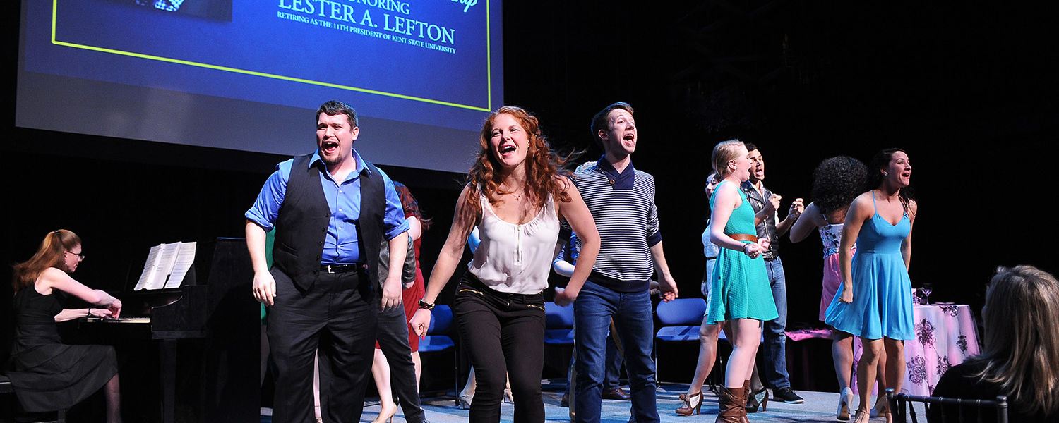Kent State students perform for President Lester A. Lefton during the Celebration of Leadership evening reception held April 4 in the Black Box Theatre.