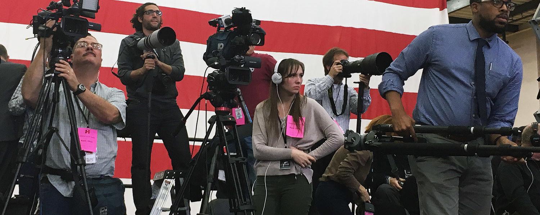 Leisel Kober, '18, filmed presidential candidate Hillary Clinton's campaign visit to Kent State alongside national media