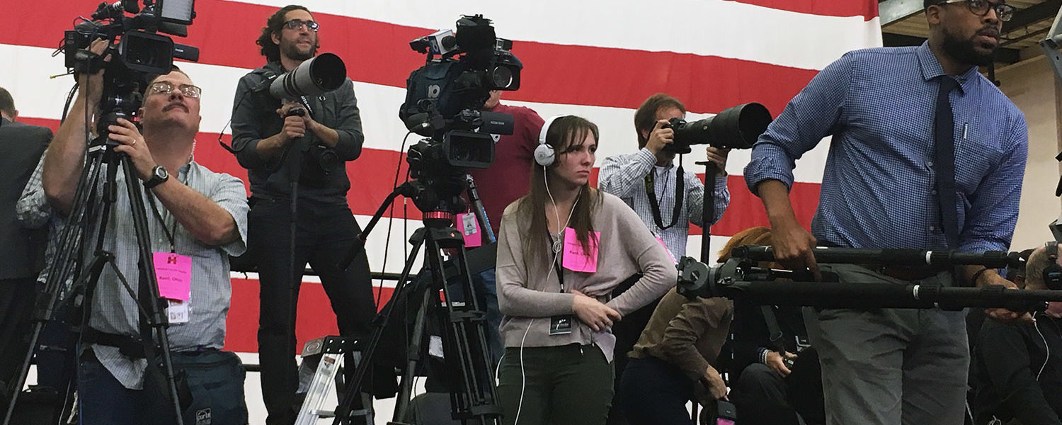 Leisel Kober, '18, filmed presidential candidate Hillary Clinton's campaign visit to Kent State alongside national media