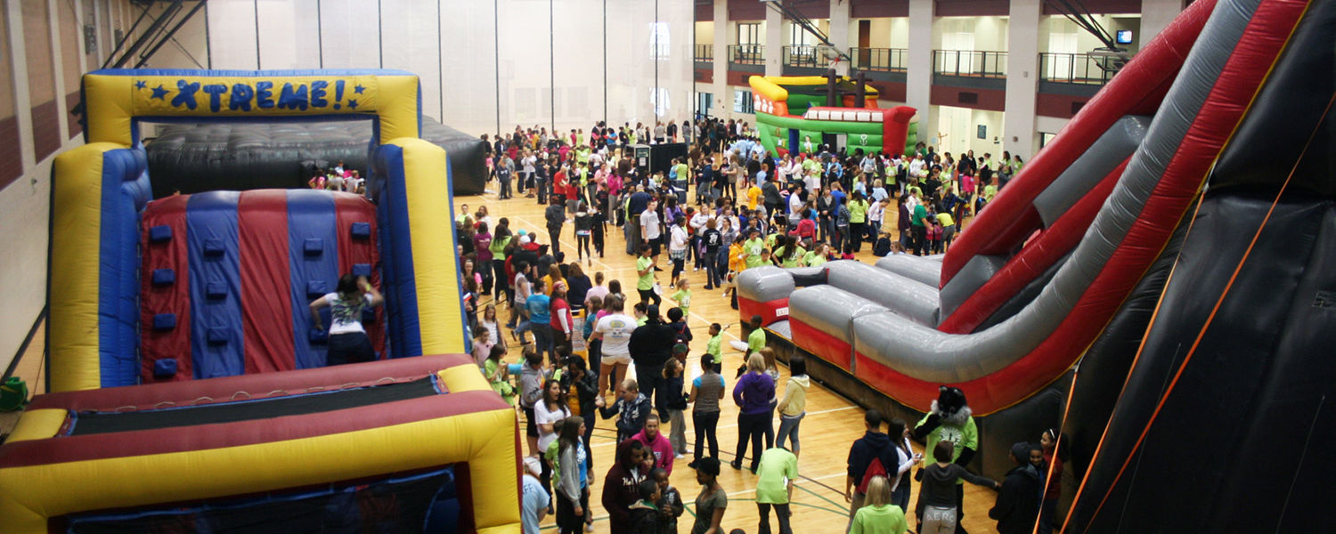 Kent State's Student Wellness and Recreation Center was converted into a playground for Lil' Sibs Weekend.