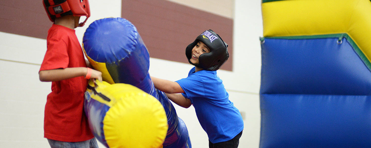 Kids take advantage of time in the Student Recreation and Wellness Center for fun and fitness during the 2015 Lil' Sibs Weekend.