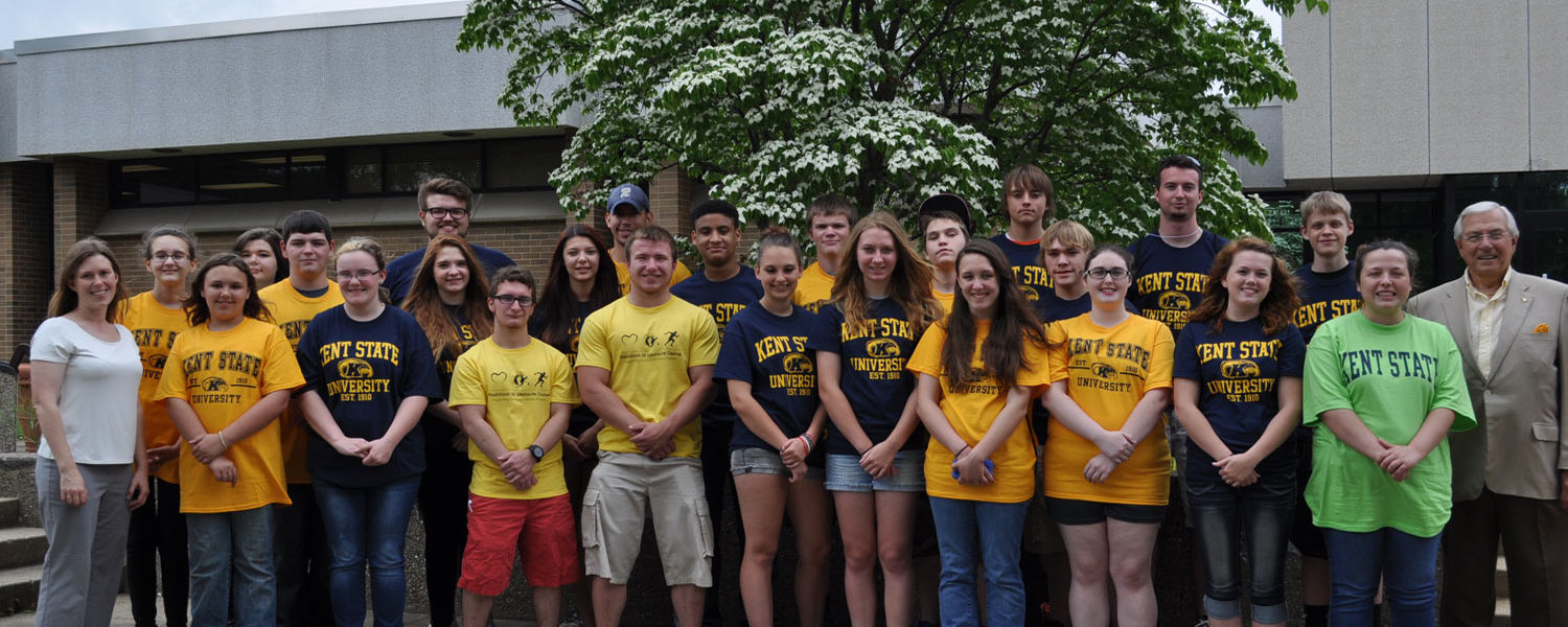 Participating in a Rural Scholars summer workshop on the Kent State Salem Campus were (front, from left): Wendy Pfrenger, Madison Borchardt, Angelica Rogers, Anthony Bell, Kyle Hartman, Calie Sherrill, Hannah DeLand, Morgan Briand, Taylor Myers, Courtney