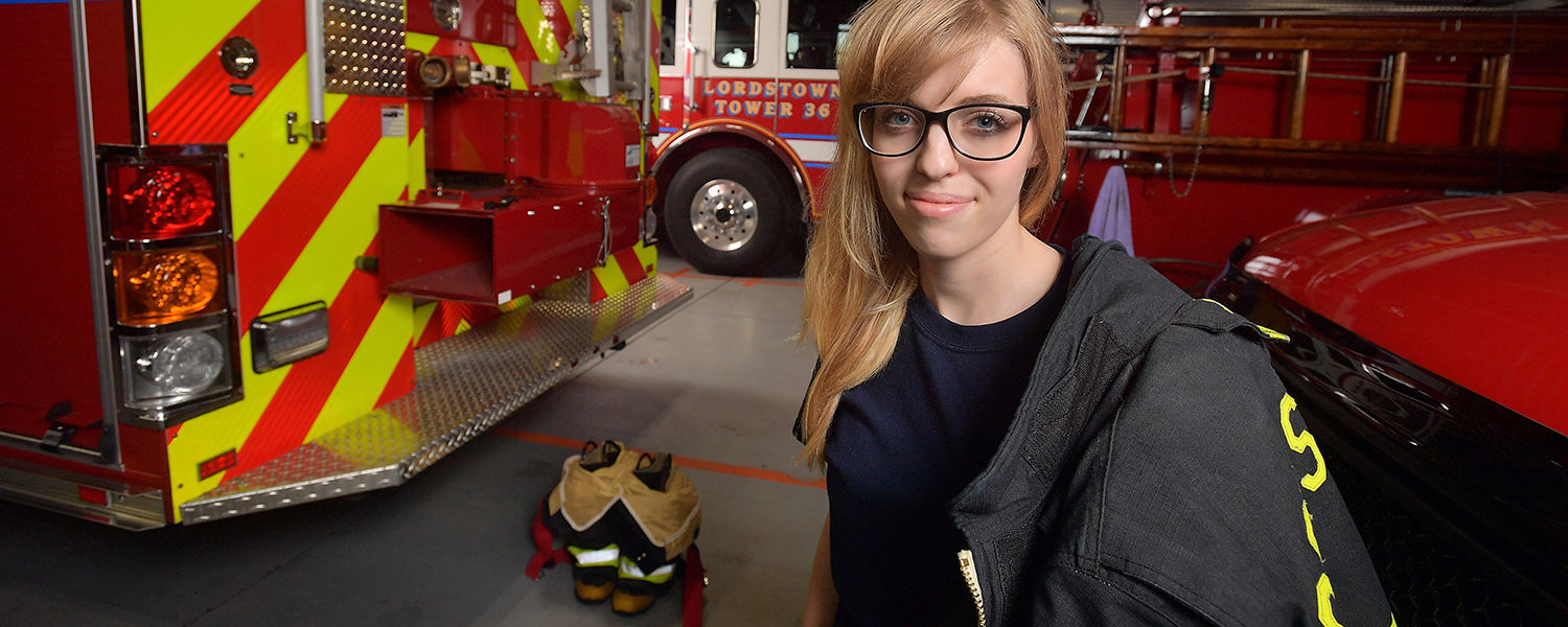 Kent State junior Brooke Mullins serves as a volunteer firefighter for the Lordstown Fire Department – Station 36.