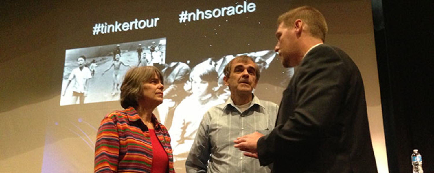 Mary Beth and John Tinker talk with Des Moines Superintendent Thomas Ahart while visiting North High School on the 2013 Tinker Tour. They gave him a black armband, and he put it one, saying no students have safer free speech than those in Des Moines. (pho