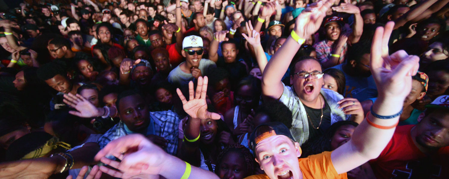 Kent State students enjoy the main performances at this year's FlashFest. Performers were Kendrick Lamar, Steve Aoki, Bad Rabbits and 5 A Dime.