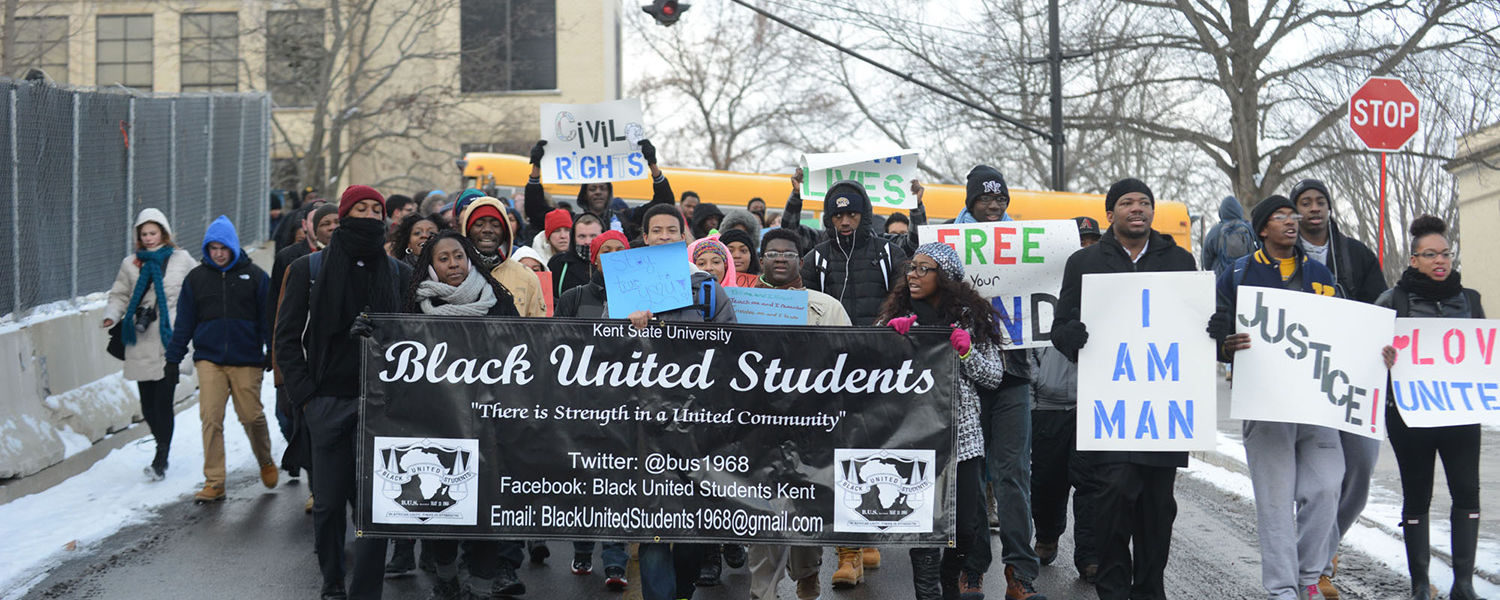 Members of Black United Students march from the student center to Ritchie Hall during last year's Martin Luther King Jr. Celebration.