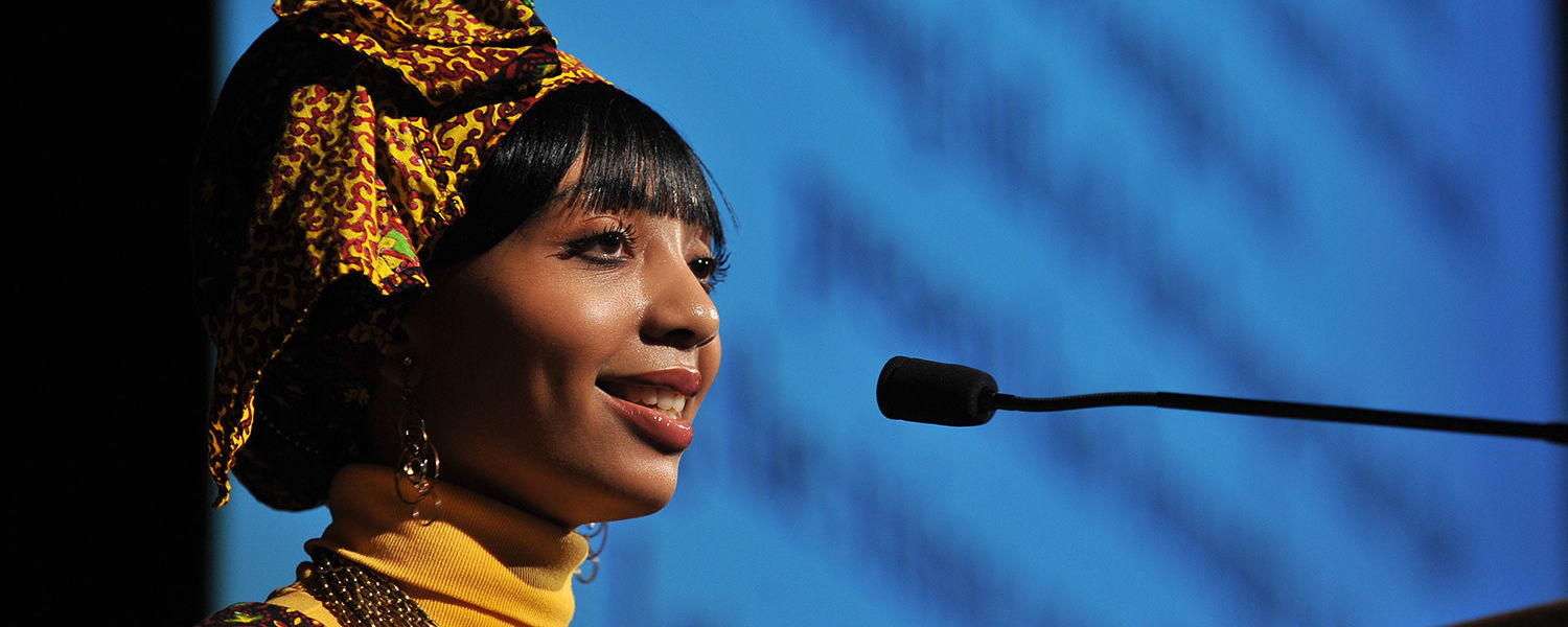 A Kent State student delivers an address during last year's 10th Annual Martin Luther King Jr. Celebration.