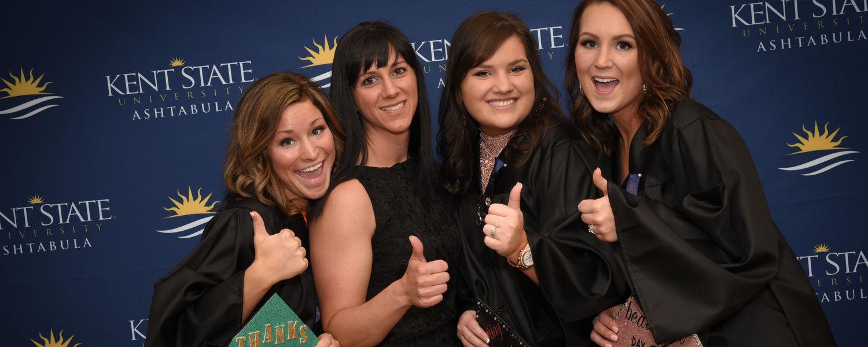 Four female Kent State Ashtabula students celebrate graduation