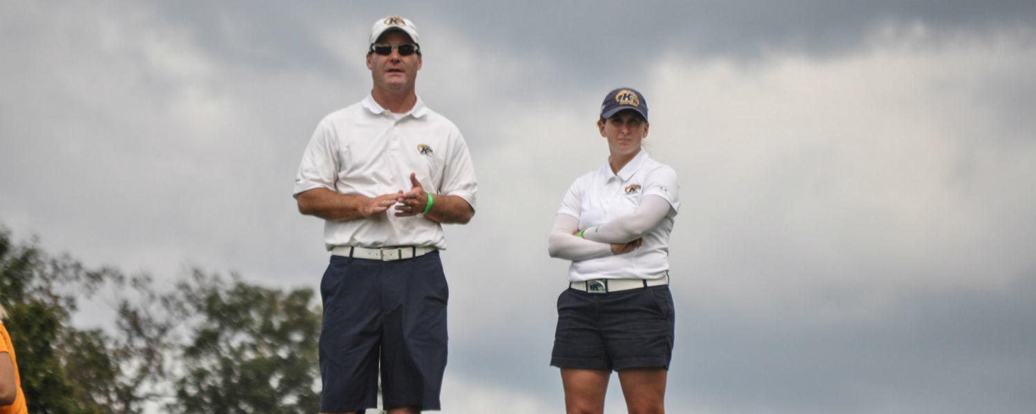 Kent State's Maddi Swaney (right) has been named Assistant Coach of the Year by the Women's Golf Coaches Association.