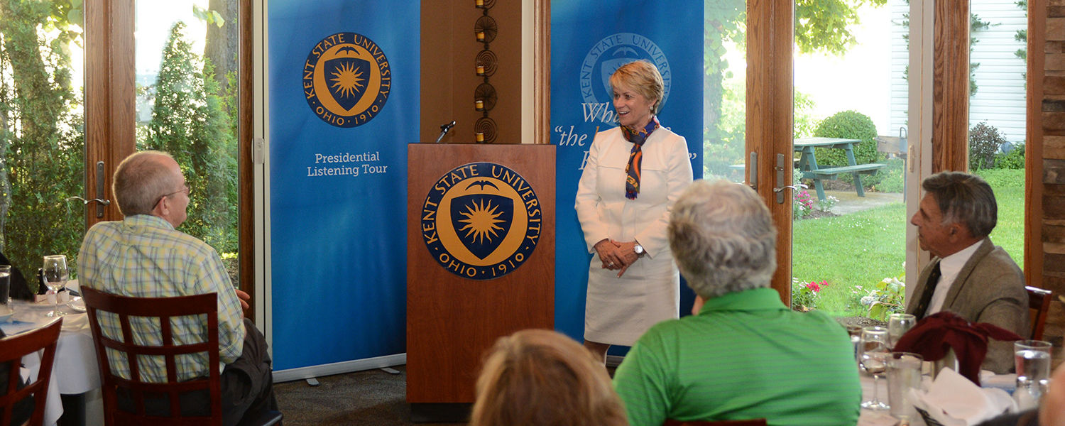 Kent State President Beverly Warren greets Kent State alumni at the Lakehouse Inn located in Geneva-on-the-Lake, Ohio, during the first day of the Presidential Listening tour. It also was Warren's first day as university president.