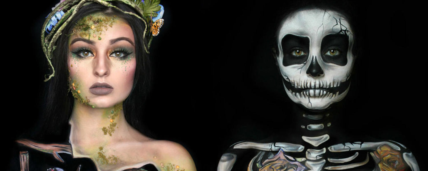 Carrie Esser paints herself, demonstrating the contrast between life and death.