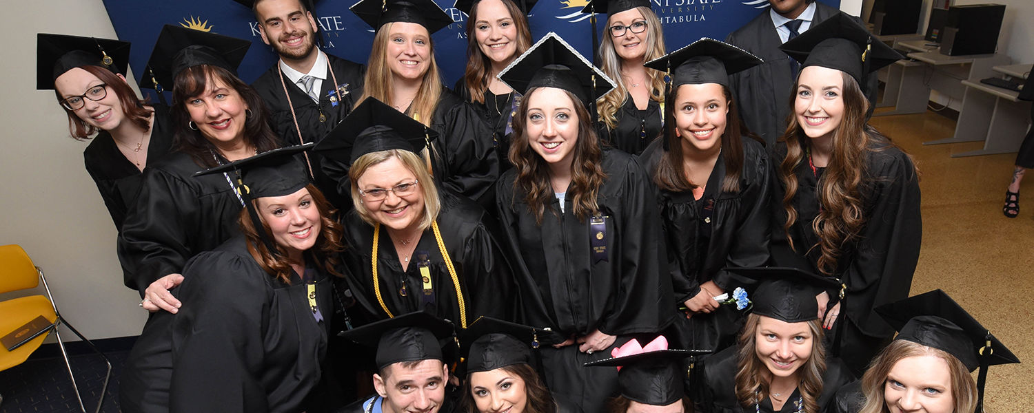 Ashtabula graduates pose before the Spring 2018 Commencement Ceremony in Main Hall