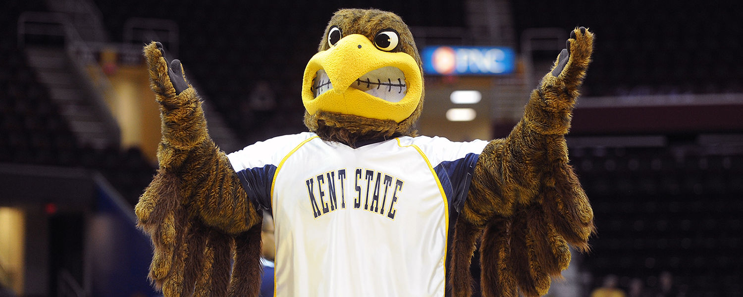 Flash, Kent State's mascot, reacts to a call from an official during last year's MAC Tournament in Cleveland.
