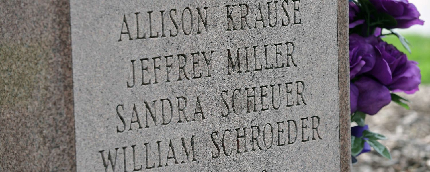 The names of those killed on May 4, 1970, is displayed on the B'nai B'rith Hillel Marker in the parking lot of Prentice Hall on the campus of Kent State.
