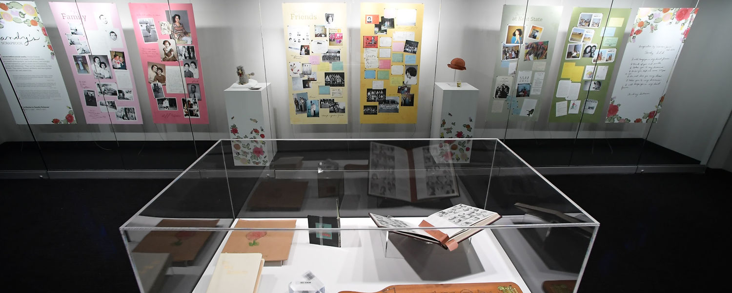"""""""Sandy's Scrapbook,"""" a new exhibition at Kent State University's May 4 Visitors Center, pays tribute to the life of Sandy Scheuer."""