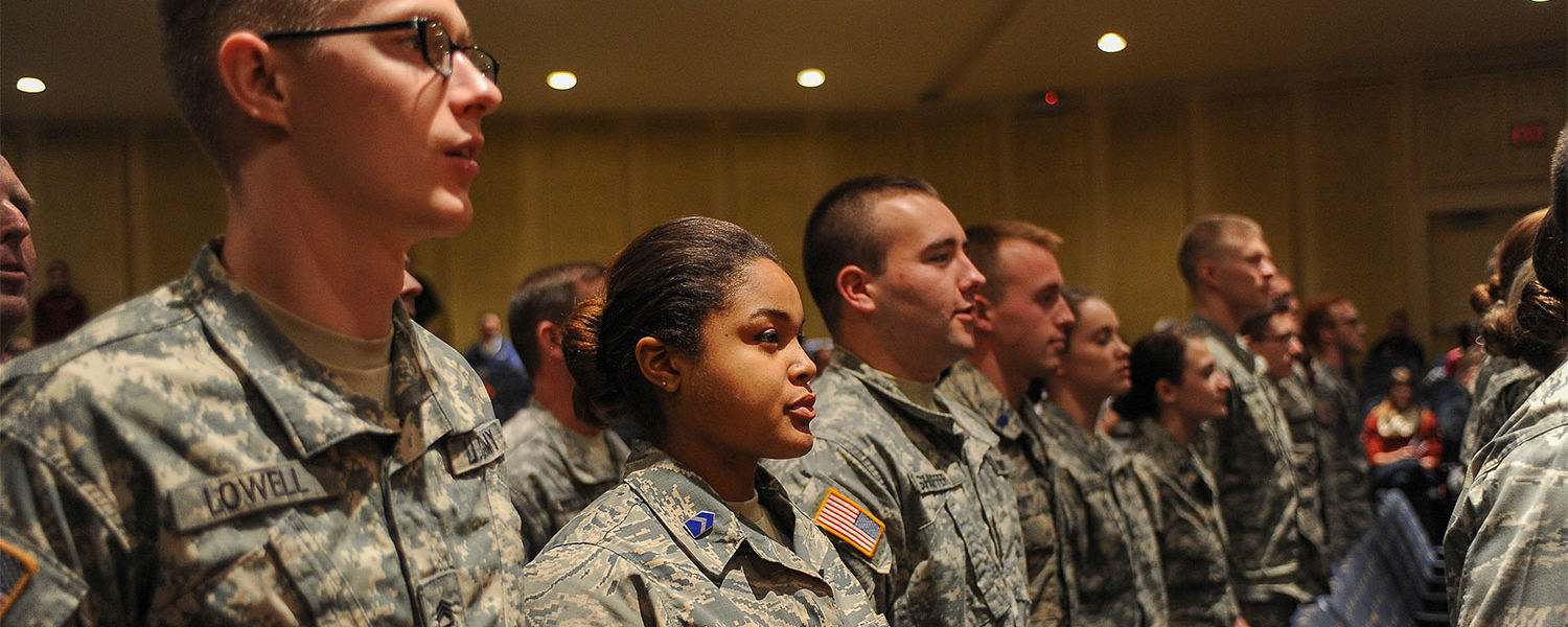 Members of the Kent State ROTC program stand during the university's 2015 observance of Veterans Day.