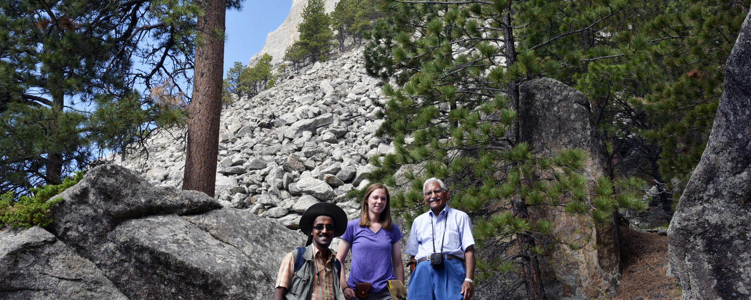 Pictured from left to right is Yonathan Admassu, assistant professor at James Madison University and a Kent State University alumnus; Lindsay Poluga, geology master's student at Kent State; and Abdul Shakoor, Ph.D., Kent State professor and principal Inve
