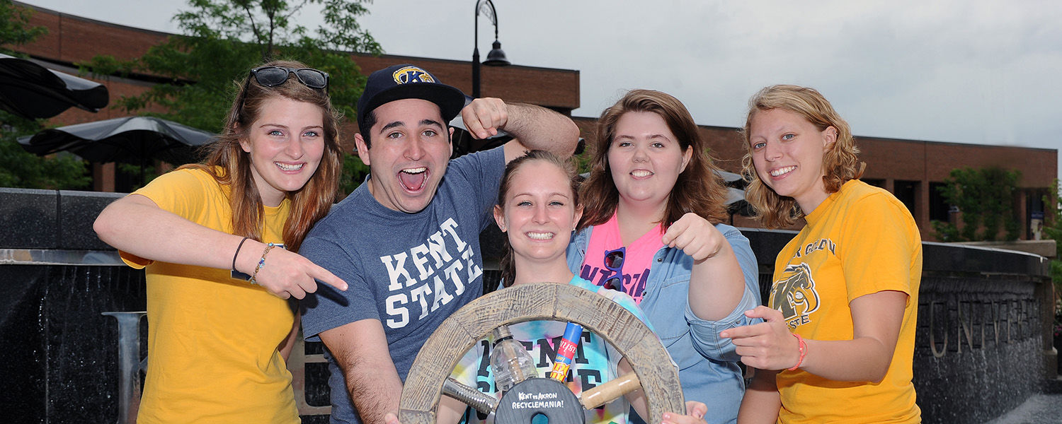 Kent State University faculty, staff and students collected 299,552 pounds of recyclables during the 2013 RecycleMania challenge. The amount of recycling collected per person allowed Kent State to retain the Braggin' Wheel.