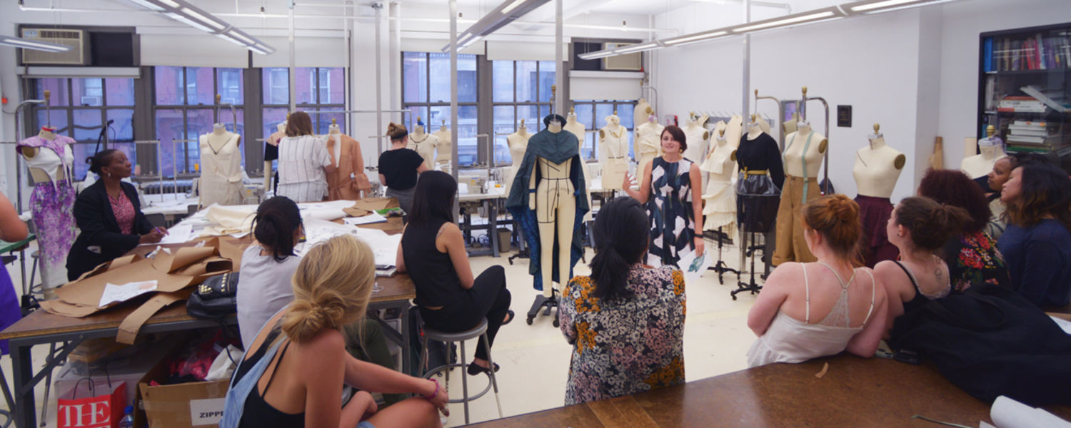 Students in a class at the School of Fashion's NYC campus location