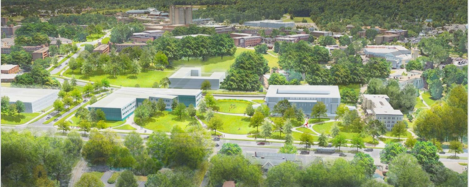 A rendering shows the potential future view of the new iconic main entrance to the Kent State University campus as seen from Main Street.