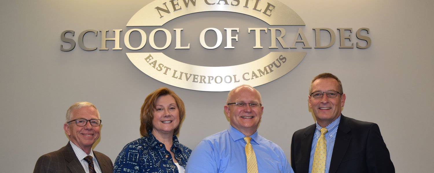 Participating in the signing of the articulation agreement between Kent State University and New Castle School of Trades were (from left) Jim Buttermore, director of the NCST in East Liverpool; Dr. Susan Rossi, assistant dean at Kent State East Liverpool;