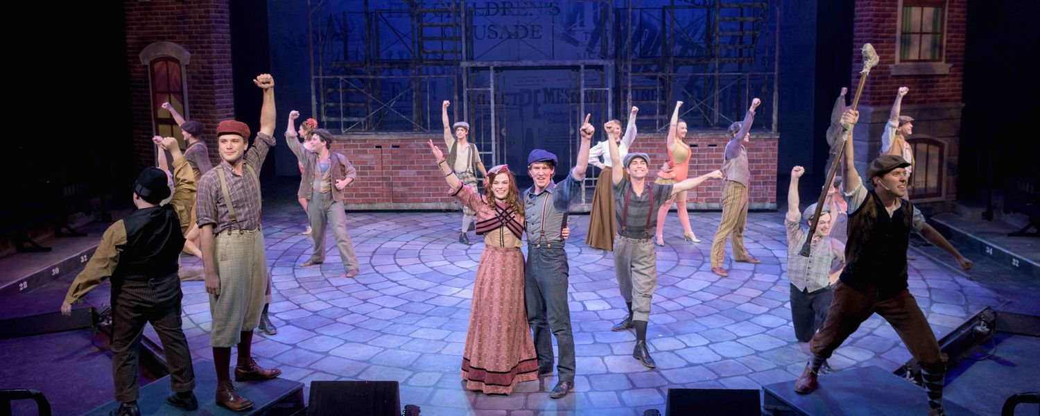 "The cast of Porthouse Theatre's production of ""Newsies"" performs."