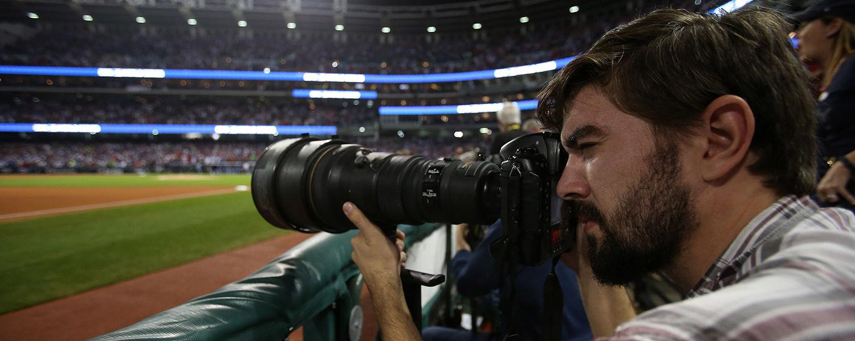 Photo by Aaron Josefczeyk / Nick Cammett, '20, took photos of the World Series games at Progressive Field.