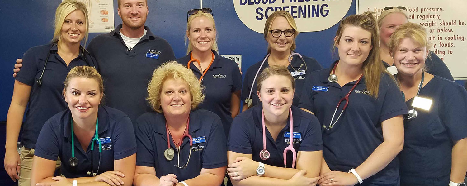 Student nurses and faculty volunteering at the recent Canfield Fair from Kent State University at East Liverpool.