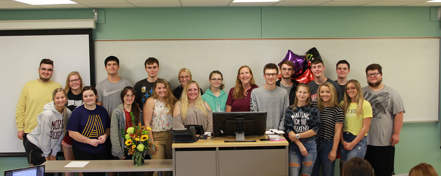 Katherine Amey With Her Class After Receiving the Outstanding Teaching Award