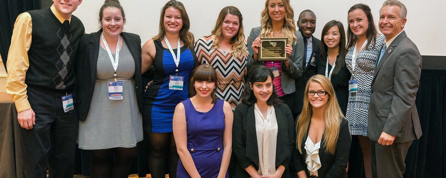 Members of Kent State's Public Relations Student Society of America (PRSSA) chapter pose for a photo after the chapter was named winner of the 2014 Outstanding Chapter award at PRSSA's National Conference in Washington, D.C.