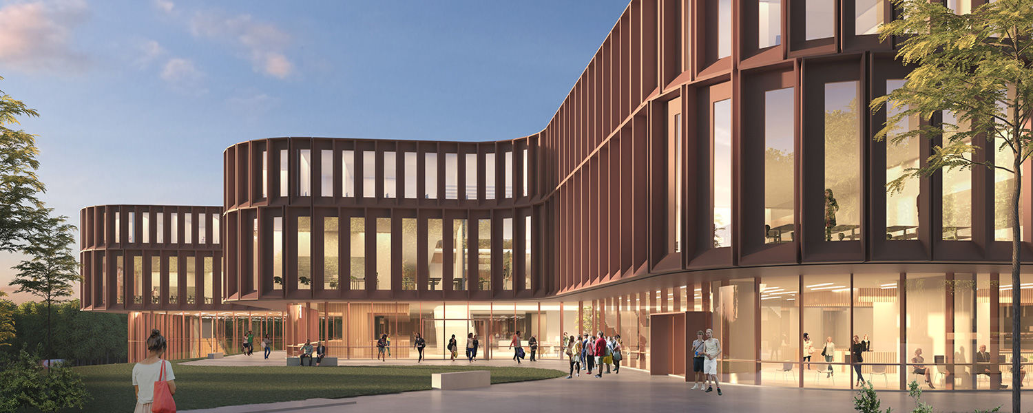 The Oxford Team's proposed exterior rendering of Kent State's new College of Business Administration building was presented by Nina La Cour Sell of Henning Larsen.