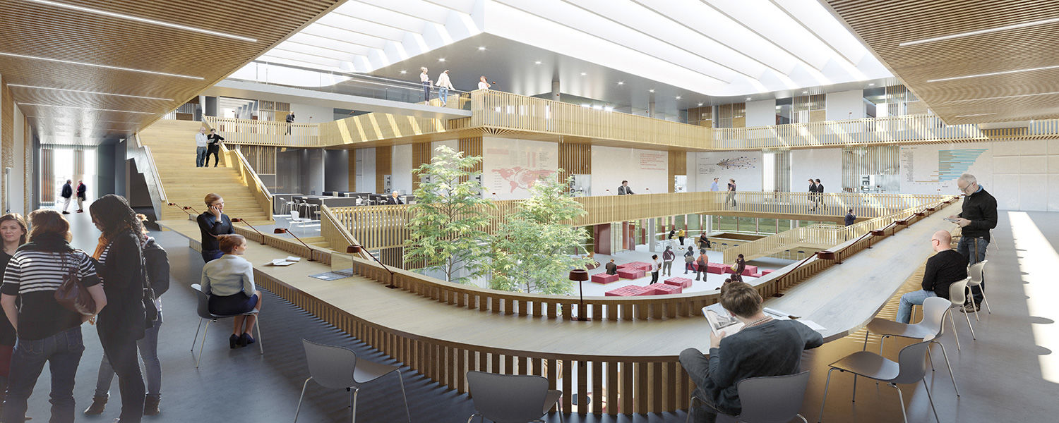 The Oxford Team's proposed interior rendering of Kent State's new College of Business Administration building was presented by Nina La Cour Sell of Henning Larsen.