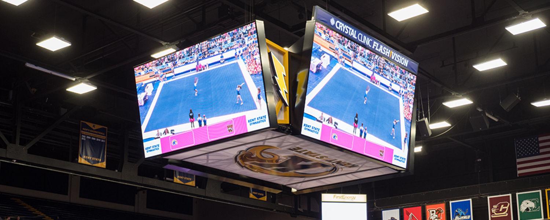 New MAC Center 4-panel, center-hung scoreboard