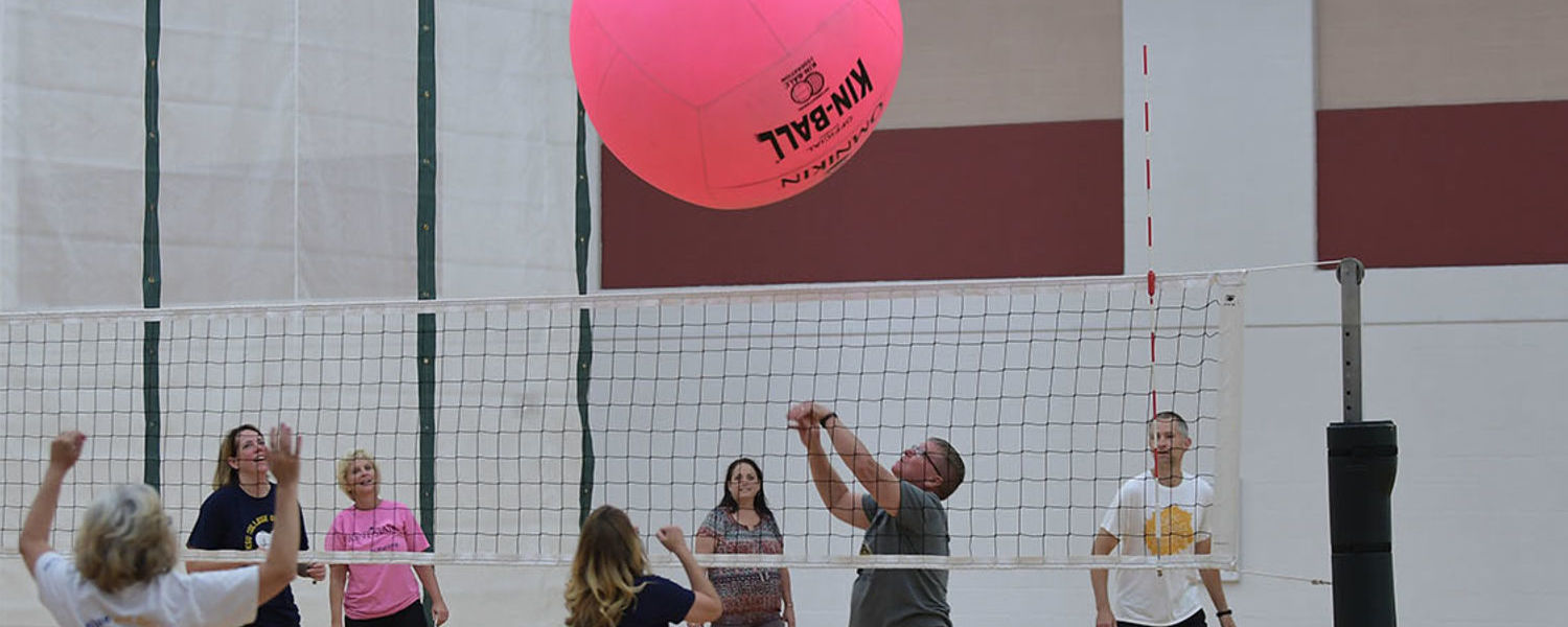 Faculty and Staff playing volleyball