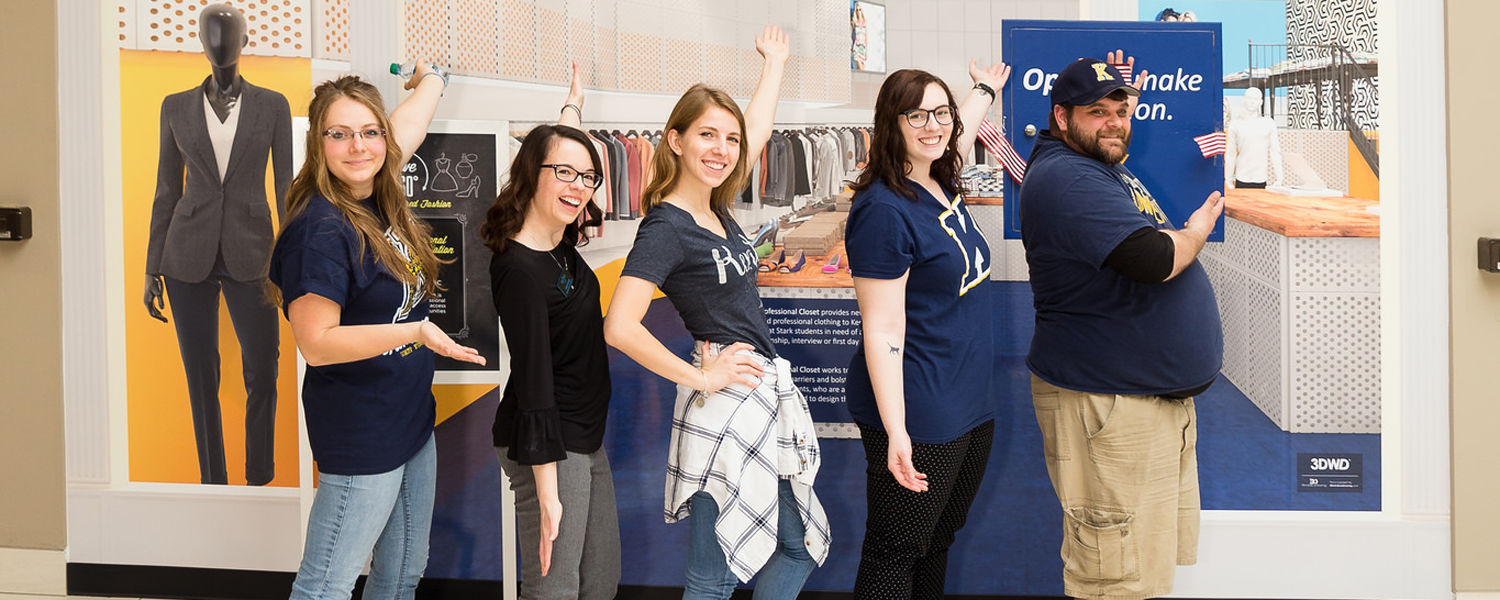 Kent State Stark students open Flash's Professional Closet Donation Station at Belden Village Mall and participate in the Proper Presentation Challenge.