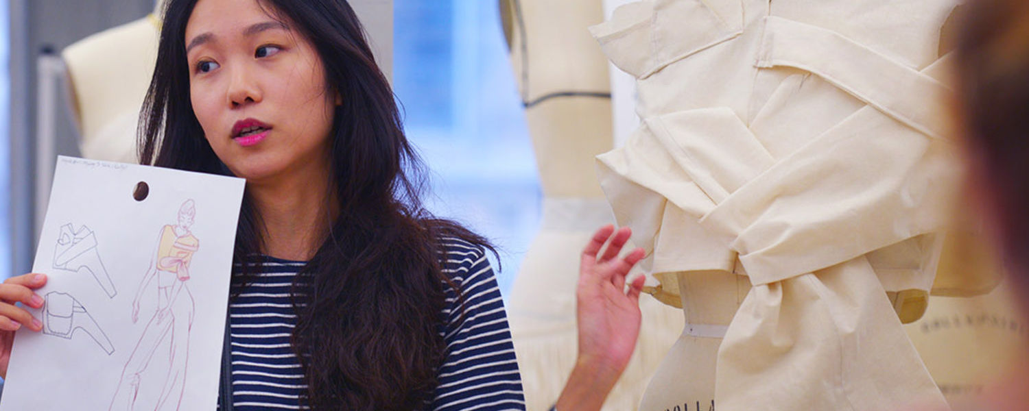 The Fashion School's NYC Studio Director Young Kim Thanos leads a class. The Margaret Clark Morgan Foundation gift will help support the study-away program benefiting fashion school students, including those who study at the NYC Studio.