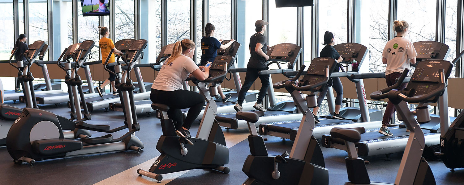 Kent State students work out in Tri-Rec, a new fitness facility in the Tri-Towers Rotunda exclusively for on-campus residents.