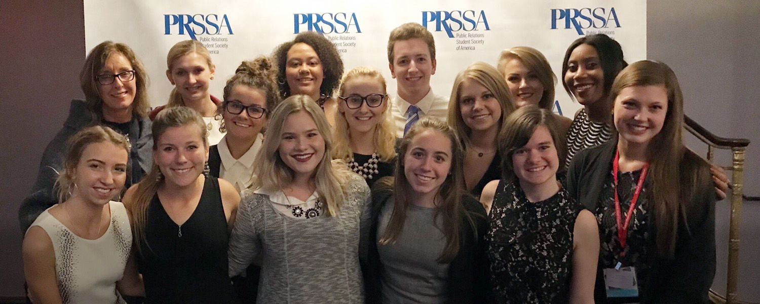 Photo of 15 PRSSA Kent members at National Conference in Boston, Oct. 6-10, 2017.