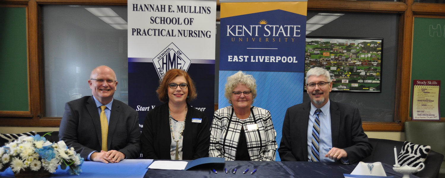 The signing of the articulation agreement between Kent State University and the Hannah E. Mullins School of Practical Nursing
