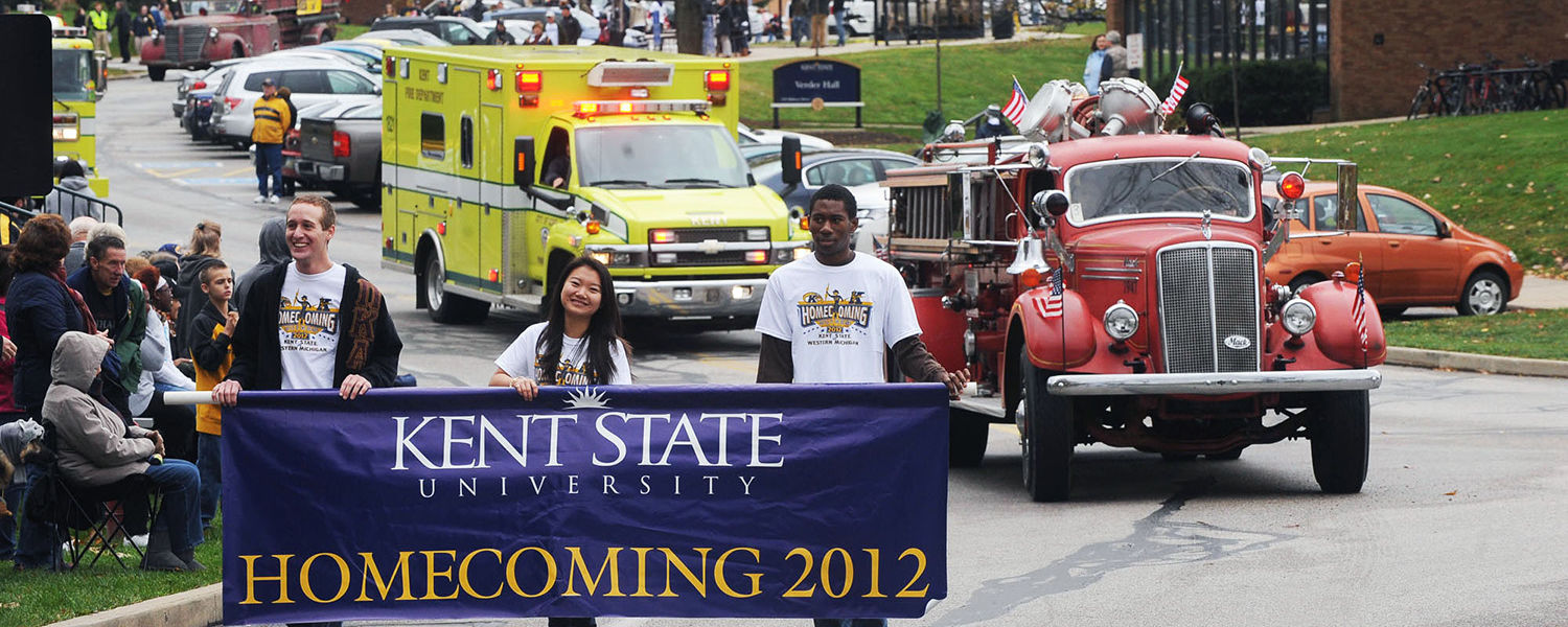 Kent State students lead last year's Homecoming Parade. The university celebrates this year's Homecoming on Saturday, Oct. 5.