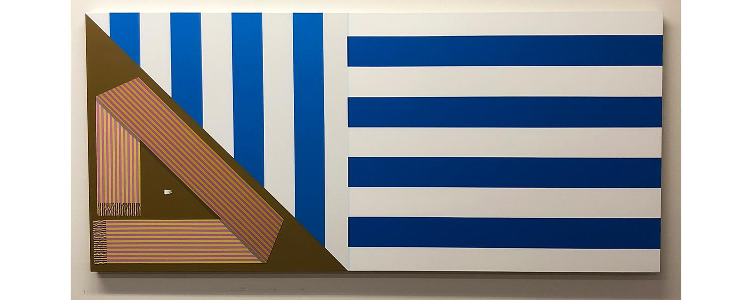 Shawn Powell, Beach Towel, Scarf, Tooth, 2020, acrylic on canvas, 30 x 66 inches. A long rectangular painting with blue and white stripes.