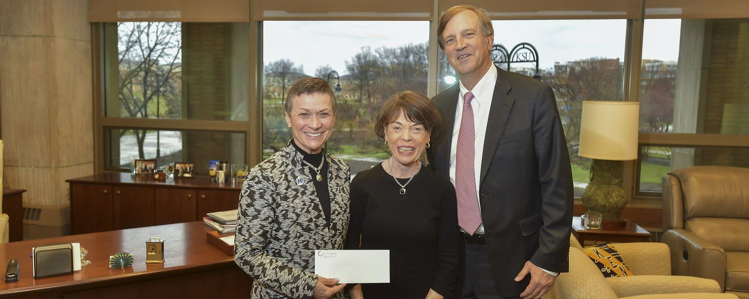 May 25, 2017, Photo of Kent State President Beverly Warren with Mary and Ted Gawlicki