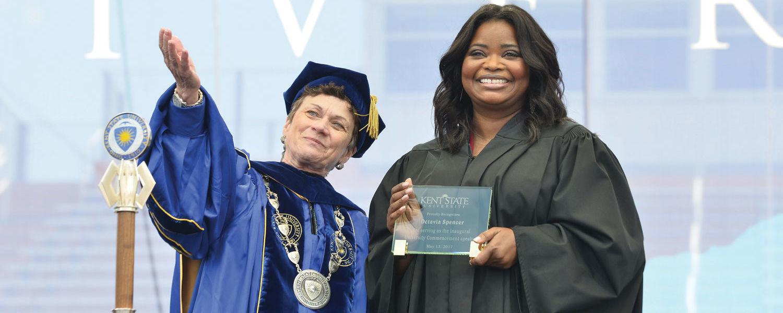 President Beverly Warren and Octavia Spencer
